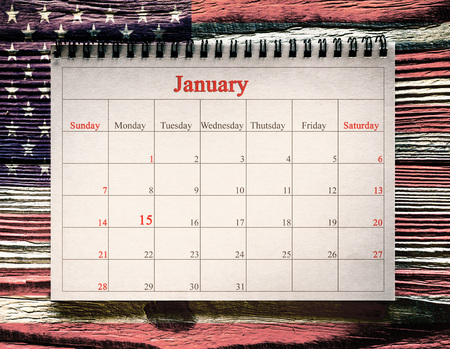 January 15 in the calendar on the wood background. day martin luther king
