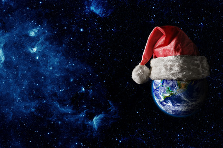 the earth is wearing a hat for christmas.
