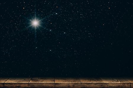 background night sky with stars, moon and clouds. wood floor.
