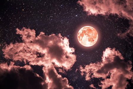backgrounds night sky with stars and moon and clouds. Coral color.