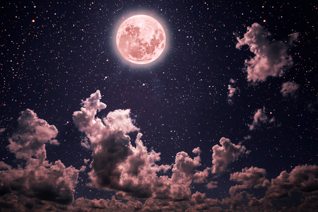 backgrounds night sky with stars and moon and clouds. pastel coral color Elements of this image