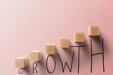 growth business coral color concept.