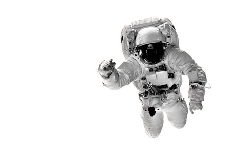 astronaut flies over the white backgrounds.