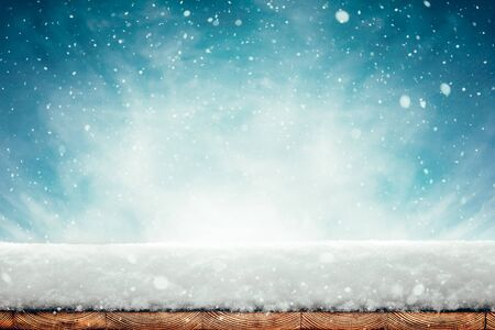 winter Christmas background with snow on the wood Stock fotó