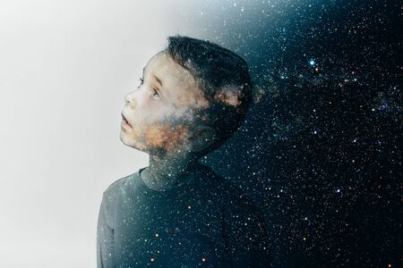 model child posing on turquoise background