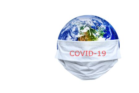 The whole earth is quarantined, the earth is wearing a mask on the white backgrounds Coronavirus and Air pollution pm2.5 concept. COVID-19