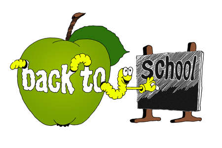 drawing on the theme back to school. the worm writes an inscription.