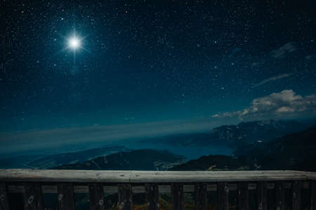 The star shines over the manger of christmas of Jesus Christ. Stock Photo