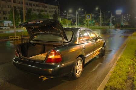 Ivanovo. Russia - 02.06.2019: cars on street in city at night Stok Fotoğraf