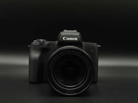 Canon M50 mark ii (M 50m 2) black with 18-150mm f3.5-6.3 lens on black background. One of the best cameras for bloggers.