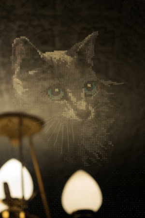 tessellation: Mysterious silhouette of a cat on a background of old chandeliers