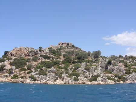 sunken boat: Ruins of the ancient city on Kekova island, Turkey Stock Photo