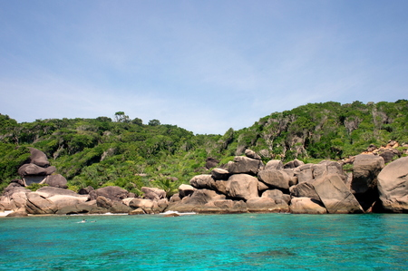 bikini top: Similan Island Group view pont with crystal clear water, Similan National Park, Thailand