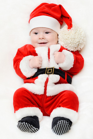 santa s helper: little santa baby on a white background