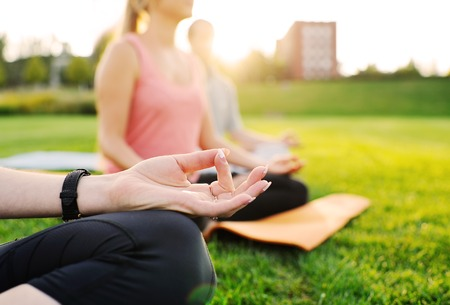 body consciousness: yoga group conducts training outdoors on a background of grass and sunset