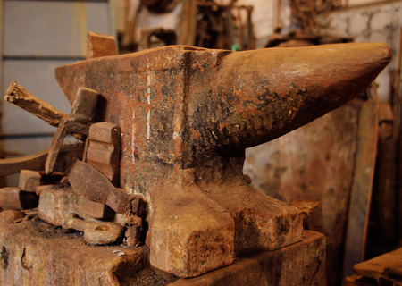 a huge anvil close-up on the background of a forge Stock Photo