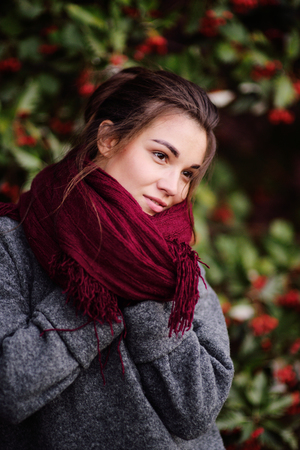 portrait of a pretty young beautiful girl in a gray sweater and a burgundy scarf on a background of a tree with red berries