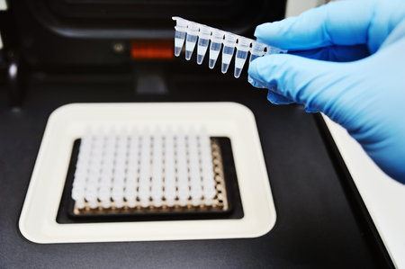 Thermocycler for DNA and PCR tests and analyzes against the backdrop of a medical laboratory Stock Photo