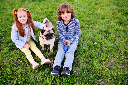 baby boy with curly hair and girl with red hair sitting on grass in park with dog pug Standard-Bild - 109610054