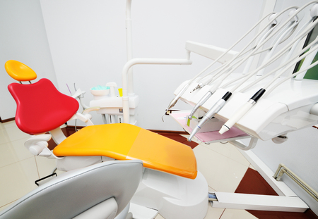 bright color interior of modern pediatric dentistry. Dental equipment and tools