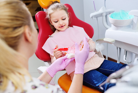 the dentist shows the little girl how to clean the teeth with a toothbrush on an artificial jaw dummy