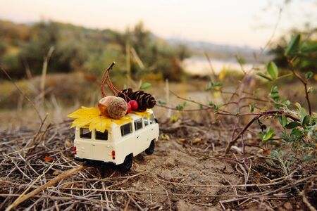 a small toy car minivan carries on the roof an acorn, a bump and a yellow leaf on the background of autumn trees and a Park. Autumn concept, space for text, copy space. Imagens