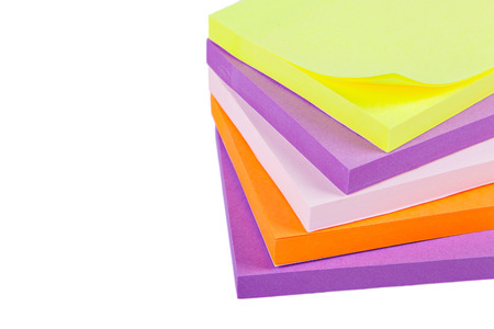 Memo Note on Stack on a white background close up