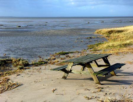 picknic: Abandoned picknic table Stock Photo