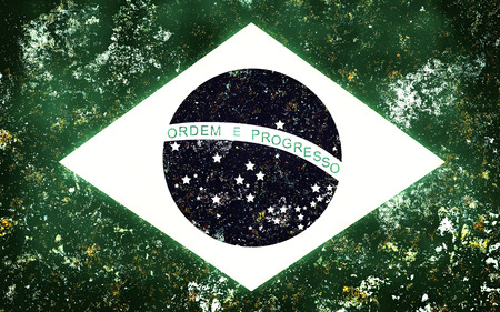 retro wear: Flag of Brazil with retro effect. Flag of wear. Stock Photo