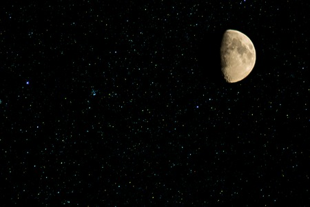 starfield: Month of the stars in the night sky. Real photo.