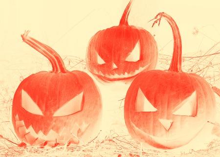 cucurbit: Illustration Pumpkin Lantern. Halloween pumpkin. Place for text.