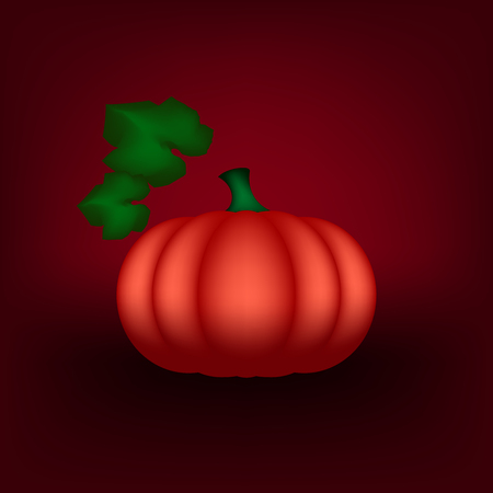 screensavers: Beautiful vector illustration pumpkin on a red background. Can be used for postcards, screensavers or applications. Stock Photo