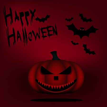 hollows: Toothy mad Lantern for Halloween. Halloween banner on a red background with bats and pumpkin. Stock Photo