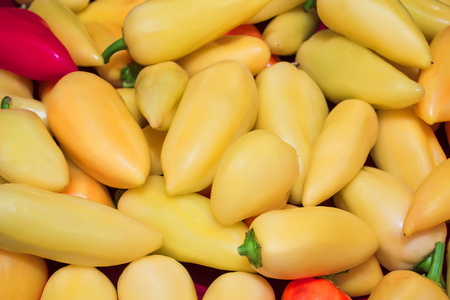 little bell: Yellow, red and green bell pepper, Pepper, a little spicy And a vegetable that can be used to cook a lot. Stock Photo
