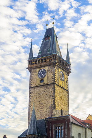 Prague Astronomical Clock. Clock tower. Against the background of beautiful clouds.