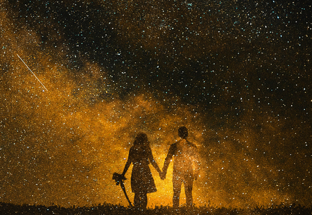 Abstract illustration of lovers on a background of gold stars. Stock Photo