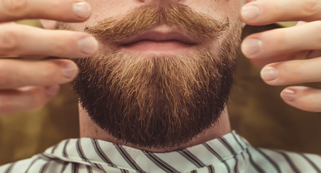 Closeup of a cropped photo of a bearded stylish men. Care beard and mustache in beauty salon. Stock Photo