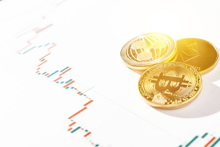 Cryptocurrency trading. Cryptocurrency chart. Bitcoin and other cryptocurrency are conquering the economy.