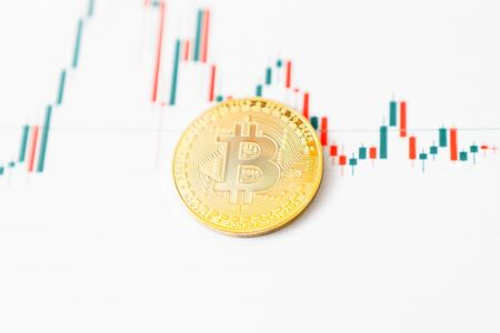 Bitcoin chart . Cryptocurrency is the currency of the future. Reklamní fotografie