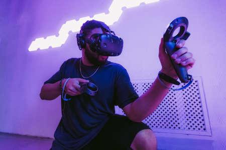 Cyberpunk style. Neon and the digital world. Standard-Bild