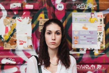 female portrait on graffiti Standard-Bild