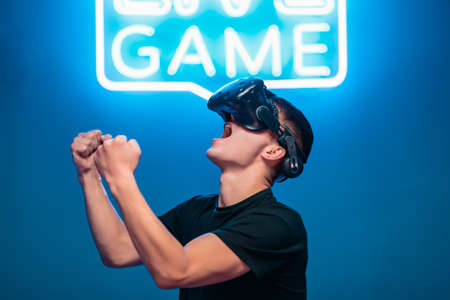 The young man is happy to have won the VR