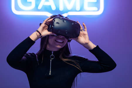 VR game in a neon room.