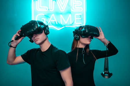 Cover for VR games. Augmented reality. The players are ready.