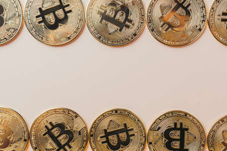 Bitcoin background with place for text. Standard-Bild