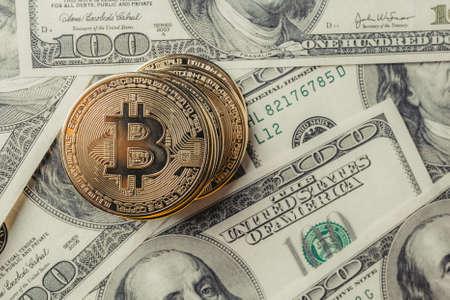 Bitcoins on dollars.