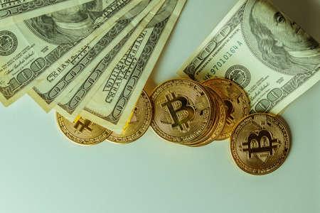 Financial crisis. Bitcoins and dollars.