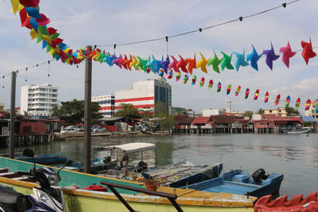 Colorful wind chime flags at the harbor from Georgetown, Penang, Malaysia