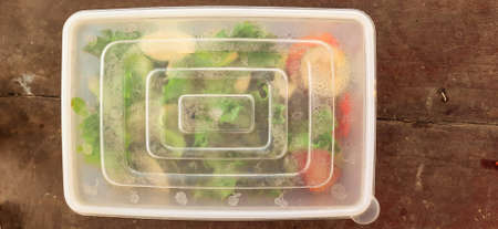 Green lettuce salat leaves, tomato and cut cucumber in a closed food storage container.