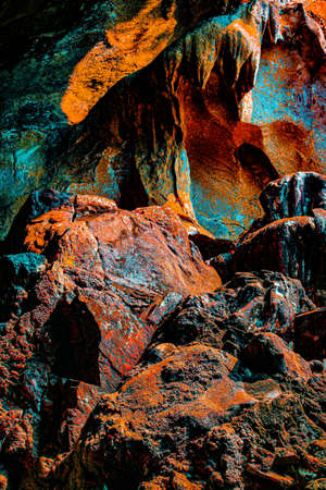Abstract shapes from a structured wall in Batu Caves, Kuala Lumpur, Malaysia, edit digital.